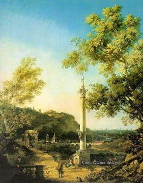 river Landschaft with a column Canaletto Ölgemälde